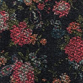 ♥ Coupon 200 cm X 145 cm ♥ Tissu lainage mat Rosier - noir