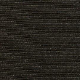 Tissu jersey maille Rayures paillettes - noir/or x 10cm