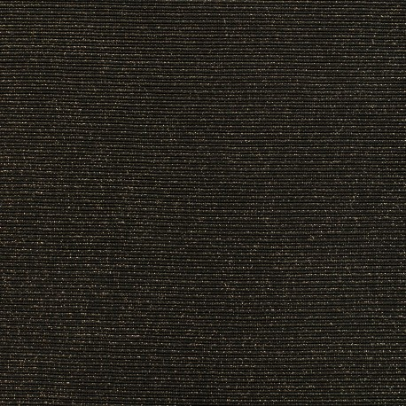 Jersey plain sparkling stripes knitted fabric - black/gold x 10cm