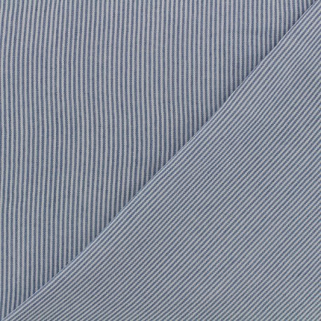 Stripes Viscose fabric - white/blue x 10cm