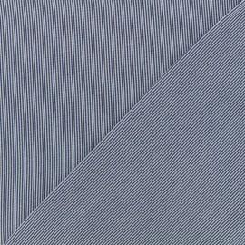 Tissu viscose Rayures - blanc/bleu foncé x 10cm