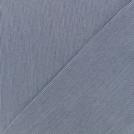 Stripes Viscose fabric - white/ dark blue x 10cm