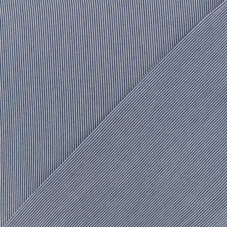 Stripes Viscose fabric - white/ dark blue x 10cm
