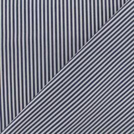 Tissu popeline Rayures - blanc/bleu marine x 10cm