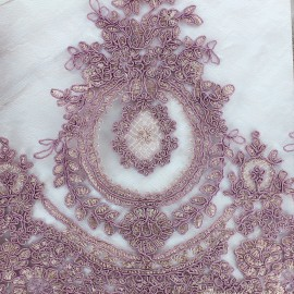 Embroidered lace fabric Fleur Deluxe - purple x 10cm