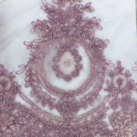 Tissu dentelle brodée Fleur Deluxe - violet x 10cm