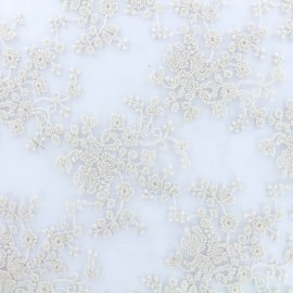 Embroidered on Tulle Lace Fabric Flora - powder pink x 10cm