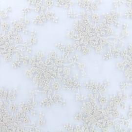 Tissu tulle dentelle brodée Flora - poudre x 10 cm