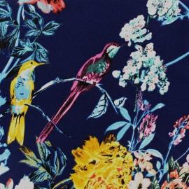 Tissu crêpe The hidden spring - bleu/multicolore x 10cm