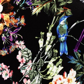 Tissu crêpe The hidden spring - noir/multicolore x 57cm