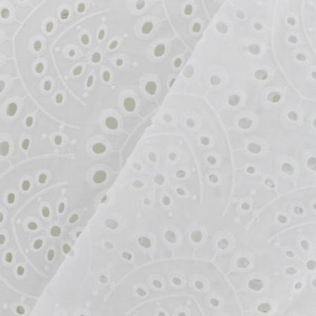 Openwork cotton fabric Beautiful flowers - ecru x 10cm
