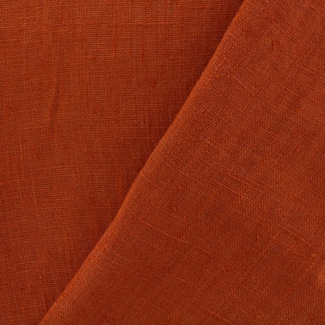 Thevenon washed Linen Fabric - safran orange x 10cm