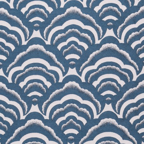 Tissu jacquard tissé Osaka - bleu paon x 10cm