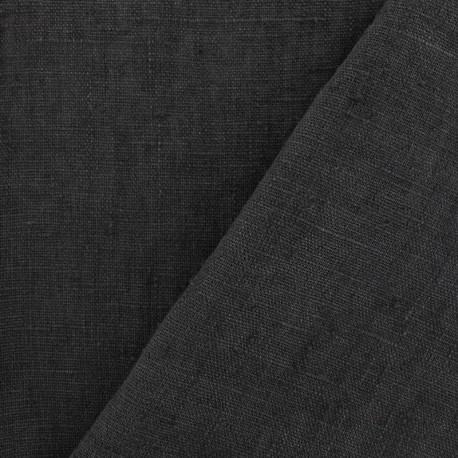 Thevenon washed Linen Fabric - fusain x 10cm