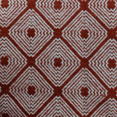 Tissu jacquard velours Lorenzaccio - terracotta x 10cm