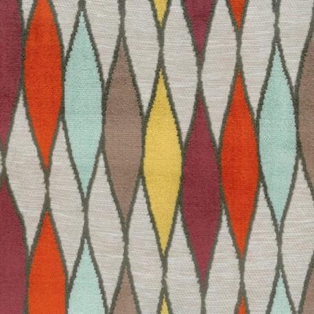Tissu jacquard velours Atravi - multicolore x 10cm