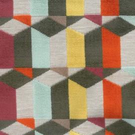 Tissu jacquard velours Graphique - multicolore x 10cm