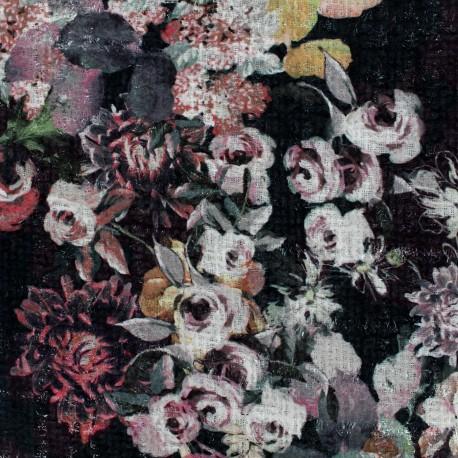 Tweed fabric Chanel Roses - black x 10cm