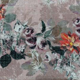 Tissu Tweed Chanel Roses - rose x 10cm