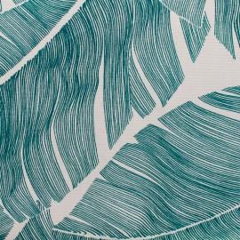 Tissu enduit de coton Totem Lagon - vert/blanc x 10cm