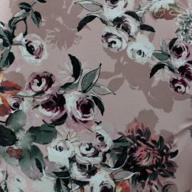 Tissu Gabardine satin Flowers - rose x 10cm