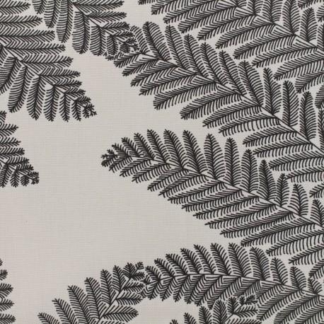 Tissu enduit de coton Wood - anthracite/blanc x 10cm