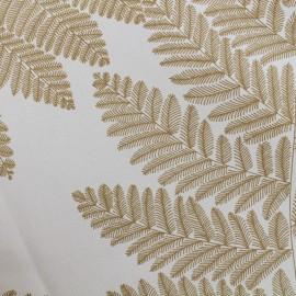 ♥ Coupon 100 cm X 170 cm ♥ Tissu enduit de coton Wood - jaune moutarde/blanc