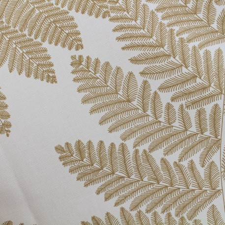 Tissu enduit de coton Wood - jaune moutarde/blanc x 10cm