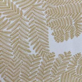 Tissu toile de coton Wood - jaune moutarde/blanc x 10cm