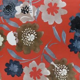 Tissu satin polyester impression digitale Bloomy - rouge x 35cm