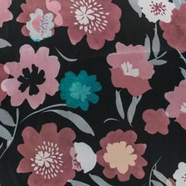 Tissu satin polyester impression digitale Bloomy - noir/rose x 35cm