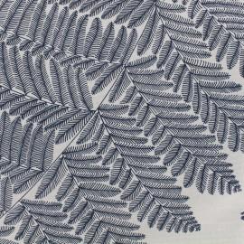 Tissu toile de coton grande largeur Wood - bleu marine/blanc x 10cm