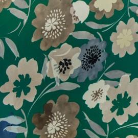 Tissu satin polyester impression digitale Bloomy - vert x 35cm