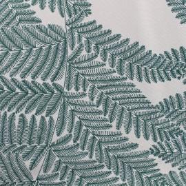 Tissu toile de coton grande largeur Wood - vert/blanc x 10cm