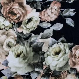Tissu velours ras sur jersey Fleurs - noir x 10cm