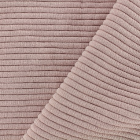 Jersey plain striped knitted fabric - pink x 10cm