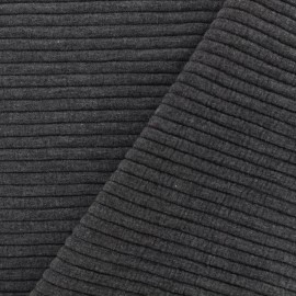 Jersey plain striped knitted fabric - anthracitex 10cm