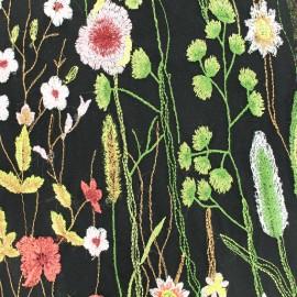 Tissu Organza brodé fleurs - noir x 54cm