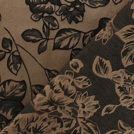 Reversible Jacquard fabric Dark flowers - taupe/black x 10cm