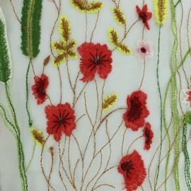 Tissu Organza brodé fleurs - blanc x 54cm