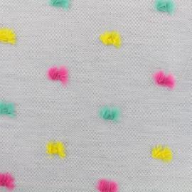 Tissu toile polyester et coton Pompon - gris/multi x 10cm