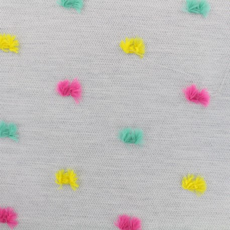 Polyester and Cotton fabric Pompon - grey/multi x 10cm