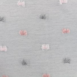 Polyester and Cotton fabric Pompon - grey/pink x 10cm