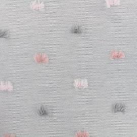 Tissu toile polyester et coton Pompon - gris/rose x 10cm