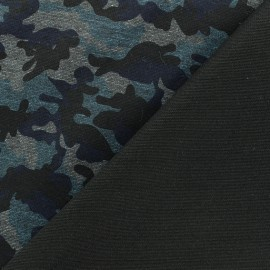 Military Milano jersey fabric - blue/black x 10cm
