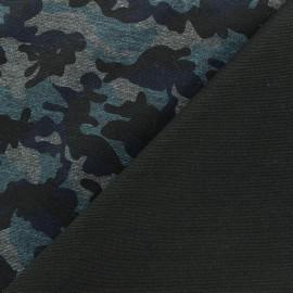 Tissu Jersey Milano militaire - bleu/noir x 10cm