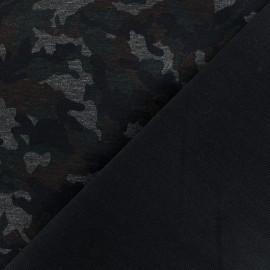 Tissu Jersey Milano militaire - vert/noir x 10cm