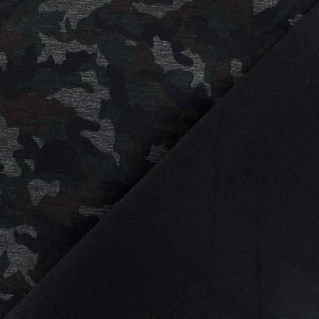 Military Milano jersey fabric - green/black x 10cm