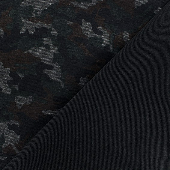 149c37fc532 Clothing fabric: Military Milano jersey fabric - green/black
