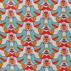 Tissu coton cretonne Birdy - multi/vert x 10cm